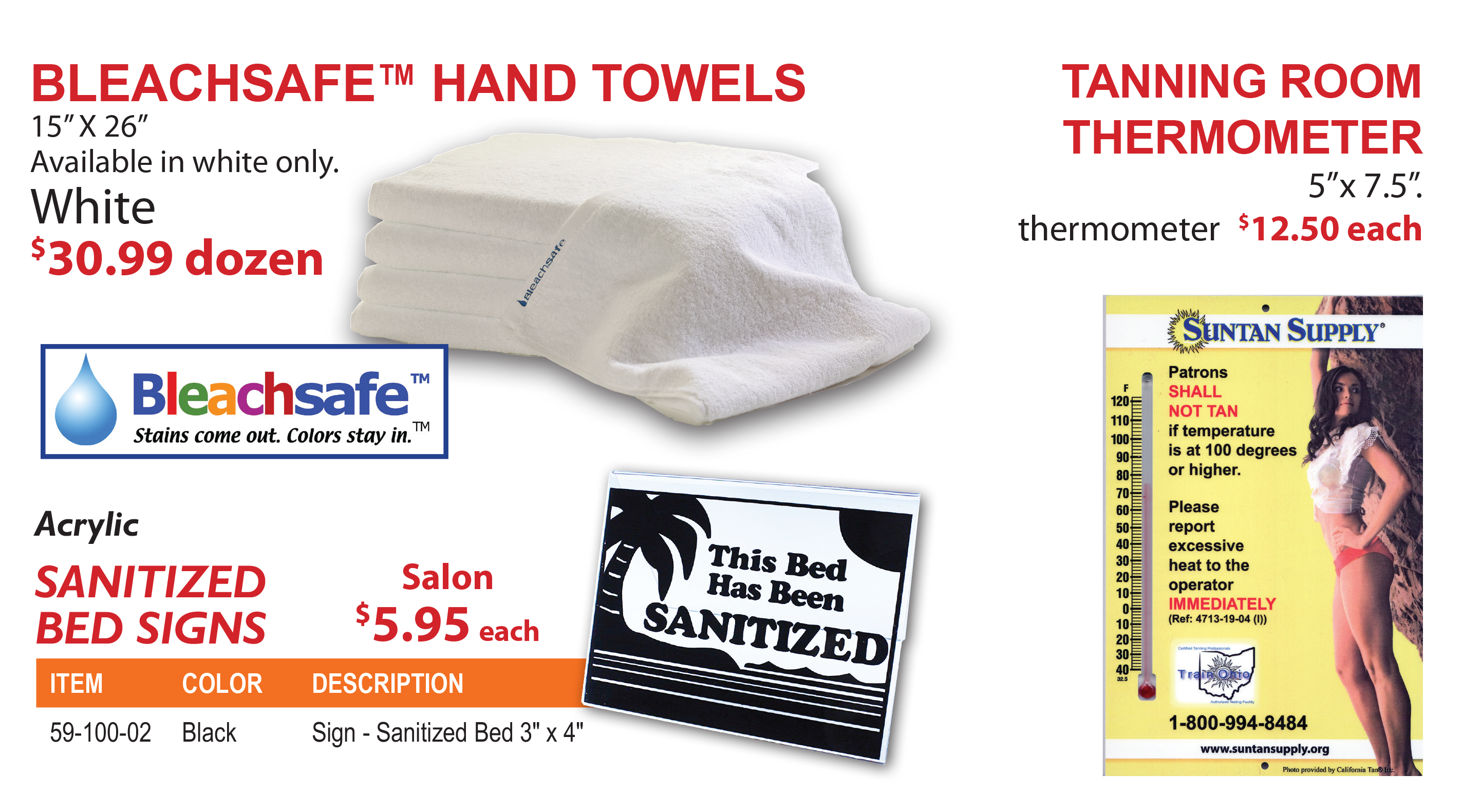 bleachsafe hand towels and tanning room thermometers