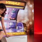 luxura vegaz tanning bed open with woman