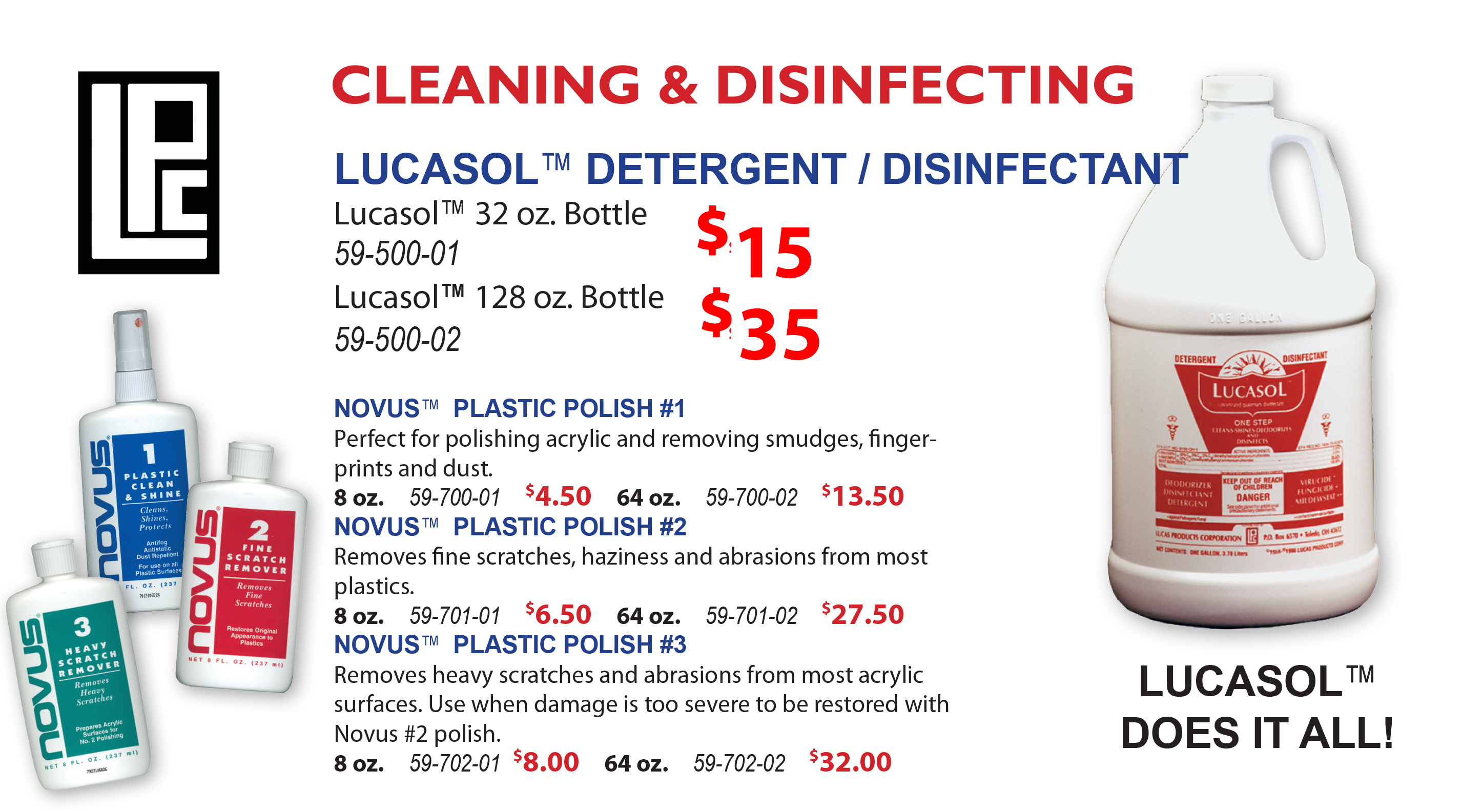 sanitizer and disinfectant pricing Lucasol brand