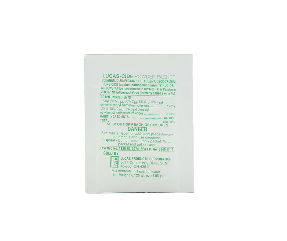 LUCAS-CIDE TANNING BED POWDER PACKET REFILL