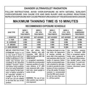 Sundash Radius tanning booth exposure lamp label
